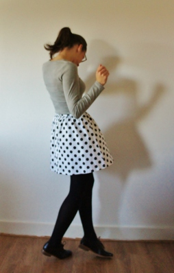 Polka dot skirt Clarks Brogues